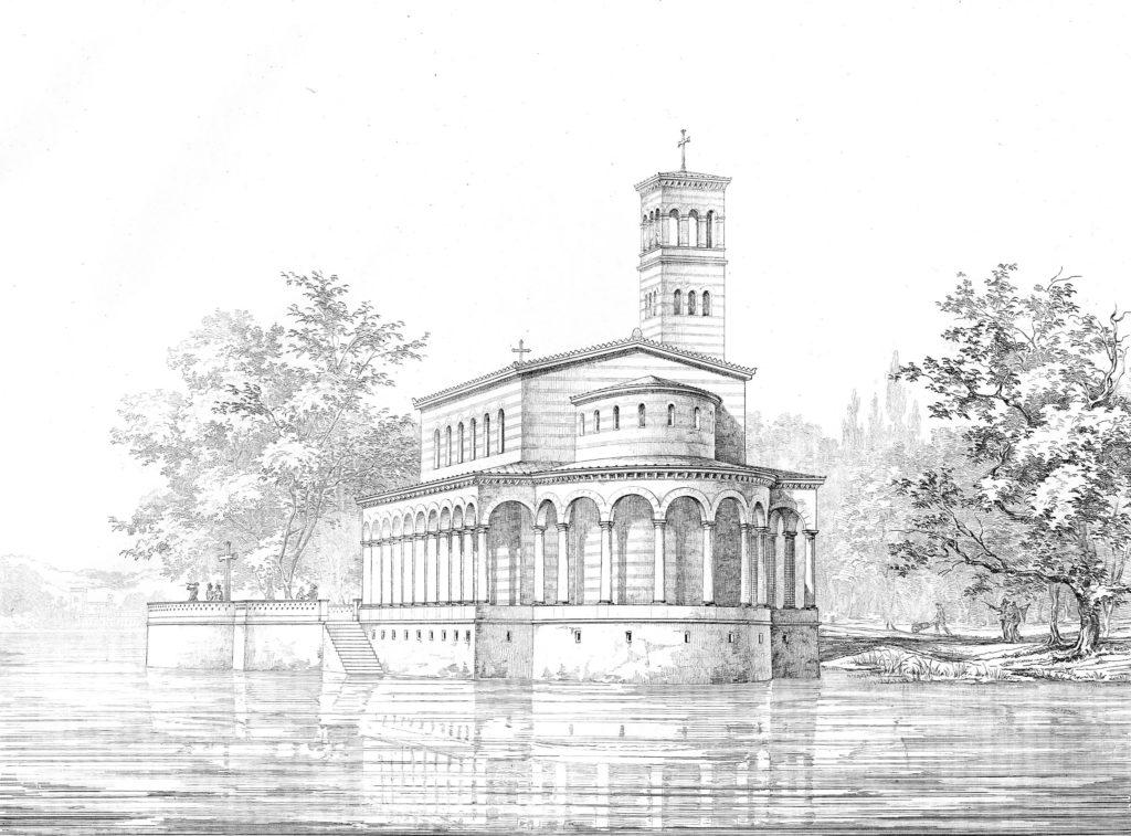 Zeichnung der Sacrower Heilandskirche mit Glockenturm