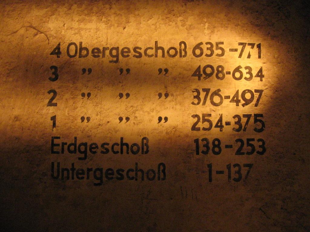 Nummern an der Wand im Fichtebunker Fichtestraße